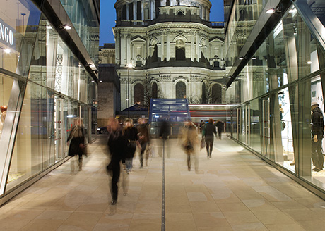 One New Change, City of London.  Lighting Consultant: Speirs + Major; Architect Jean Nouvel, in association with Sidell Gibson